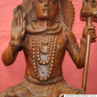 Skulptur Figur Holz indische Göttin Shiva Handarbeit COA original 33