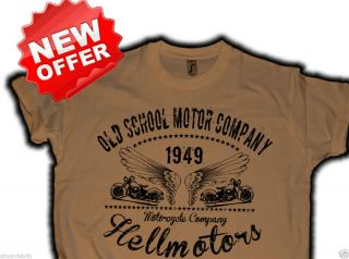 Biker T Shirt,old school Motor Company Hellmotors,Chopper motorcycle