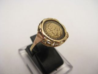 Goldring 585 Muenzring Ring Gold Muenze Kennedy Zierring ANTIK EDEL