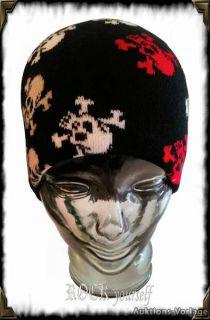Beanie Mütze Totenköpfe Skull Skulls Schwarz Rockabilly Punk Gothic