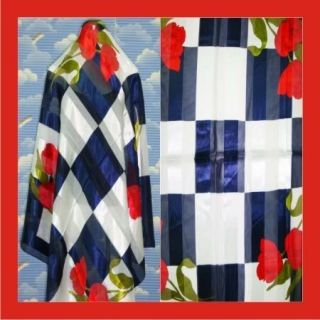 New Large Check Navy Blue Silk Scarf Shawl Wrap s593