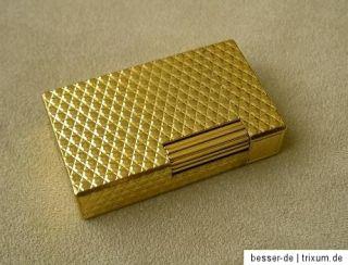 Dupont Feuerzeug gold mit Waben Reliefdekor