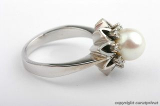 Perlenring 14 kt. 585 Weißgold Ring mit Perle und Brillanten