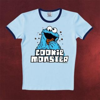 Sesamstraße Krümelmonster Shirt, Kekse Cookie Monster Retro Print