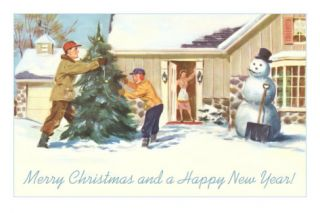Merry Christmas and Happy New Year, Winter in Suburbia Posters