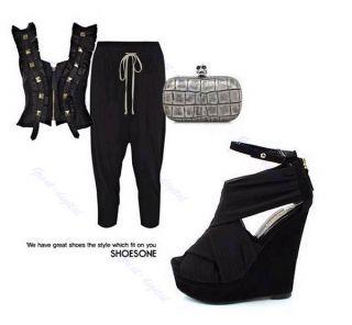Hot Sexy Women Silk Platform Wedges Pump Peep Open Toe Heels Sandals