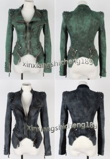 Sharp Punk Studded Shoulder Notched Lapel Denim Jeans Tuxedo Coat