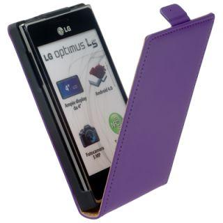 Leder Flip Style Tasche lila f LG Optimus L5 E610 Etui Leather Case
