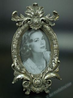 Rokoko Barock Bilderrahmen Fotorahmen Oval Glas Rahmen Silber Holz