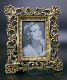 Rokoko Barock Bilderrahmen Fotorahmen Rechteckig Rahmen Gold Holz Stil