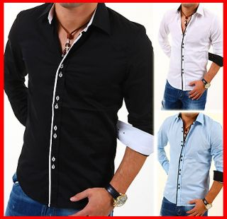 CARISMA Slim Fit Hemd Polo Shirt Kontrast Party Schwarz/Weiß/Blau