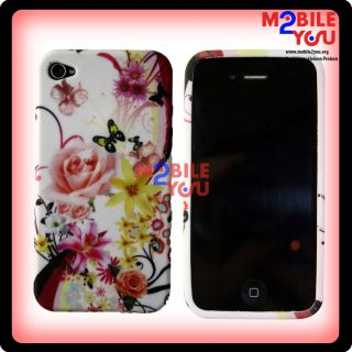 Apple Iphone 4 4G Schutzhülle Cover Case Hülle Blumenmuster