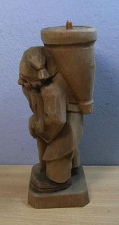 Vintage Wood Carved German Gnome Candle Holder #N
