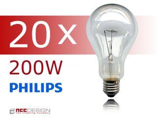 20 x Philips Glühbirne 200W klar E27 Glühlampen Glühbirne
