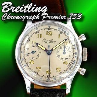 BREITLING Uhr Premier Chronograph 753 aus 1947   Chrom