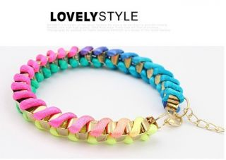 Hot Sweet Cute Handmade Colorful Rope String Cord Metal Mixed Woven
