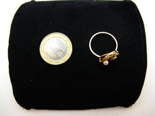 R661 585er 14kt Gelbgold Gold Ring mit Perle und Zirkonia, Handarbeit