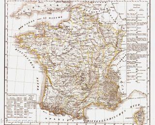 Antiquarische alte Landkarte FRANKREICH Ancienne Carte de la France