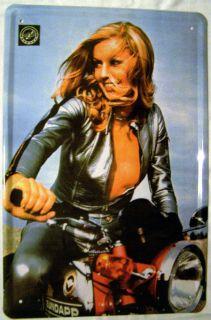 Blech Schild Zuendapp Frau Motorrad Mofa 20x30cm metal tin sign Deko