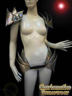 SILVER GAGA BURLESQUE SHOWGIRL MIRROR DISCO BALL DRAG SHIELD COLLAR