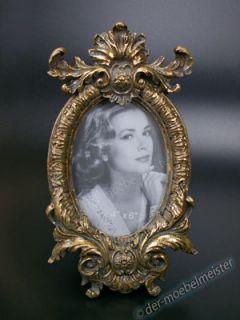 Rokoko Barock Bilderrahmen Fotorahmen Oval Rahmen Gold Glas Deko Holz