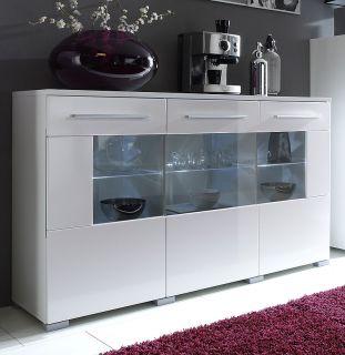 TOP* Design Vitrinen Set mit Sideboard Hochglanz weiß Glasvitrine