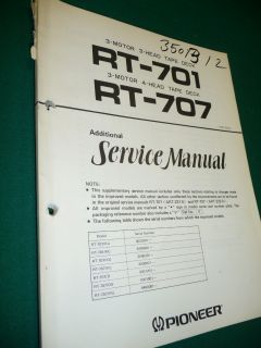 Service Manual Pioneer RT 701/RT 707,ORIGINAL!!!