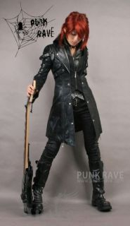 Jacke Mantel Larpmantel Visual Kei Punk Rave Rock Gothic Schwarz