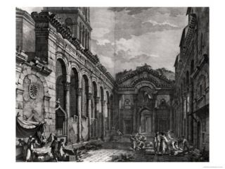 View of the Peristyle of the Palace of Diocletian (245 313), Roman Emperor 284 305, at Split Giclee Print by Robert Adam