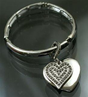 A712 Neu Luxus Stretch Armband m. Herz Armband Silber Schmuck Damen
