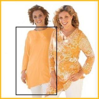 Langarm Shirt T Shirt asymetrisch uni orange Gr. 46 NEU