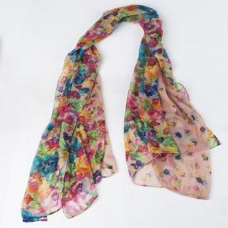 This is Fashion Women Thin Long Soft Flower Pattern Shawl Scarf Neck
