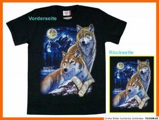 Rock Eagle T Shirt Wolf Paar+Mond+Gebirge, Gr. M, Western Biker