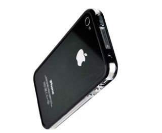 iPhone 4 BUMPER Cover Case Hülle Tasche schwarz transparent + Gratis