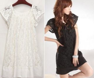 New Women Casual Cap Sleeve Style Lace Crew Neck Mini Lady Dress Skirt