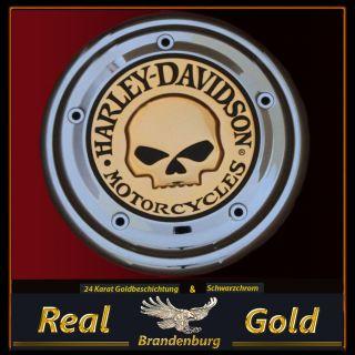 Harley Davidson Skull Luftfilter Zierblende Emblem 24 Karat Gold