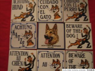 Achtung Katze Hund Gato PERRO Cat Dog Chat Chien Keramik 15x15 made