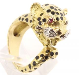 750 18kt Diamant Rubin Gold Ring Raubkatze Panther Emaille Diamantring