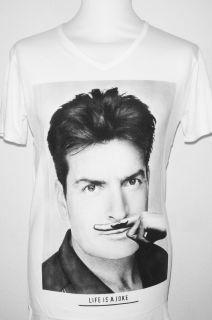 Org. Eleven Paris Mustache Shirt Charlie Sheen  Männer  Weiß  Neu