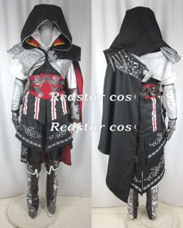 Assassins Creed II 2 Ezio Cosplay Black Costume   Custom made in Any