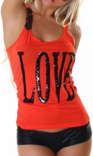 Damen Top Oberteil Shirt T Shirt Sommer Pailletten Top Love in 5