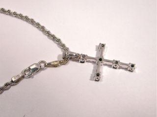 Kreuz mit Kette 750 er Weissgold mit 6 blaue Saphir und 10 Diamanten