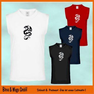 DRACHE Muskel Shirt mit Drachenmotiv Achselshirt 10 752