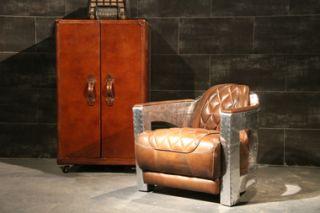 Vintage Leder Design Sessel Nash antik Chromgestell Stahl Clubsessel