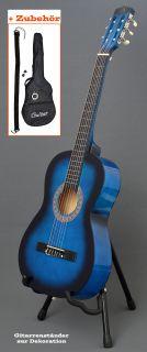 Akustik Gitarre Klassikgitarre Konzertgitarre Blau Schwarz mit Tasche