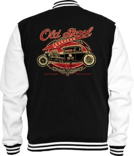 Rockabilly Sweat College Jacke Old Skool Pin up Chevy VW Hot Rod