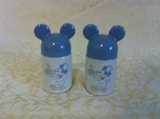 Disney Mickey Mouse Blue Ears Salt and Pepper Shakers S P FAST FREE