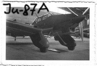 Orig. Foto, Luftwaffe Flugzeug, Junkers Ju 87 Stuka Bomber in Hangar
