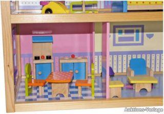 Großes buntes Puppenhaus aus Holz mit Zubehör + Fahrstuhl Traumhaft