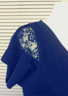 Shirt Long T Shirt Gr. 38 blau Spitzeneinsatz (Gina)
